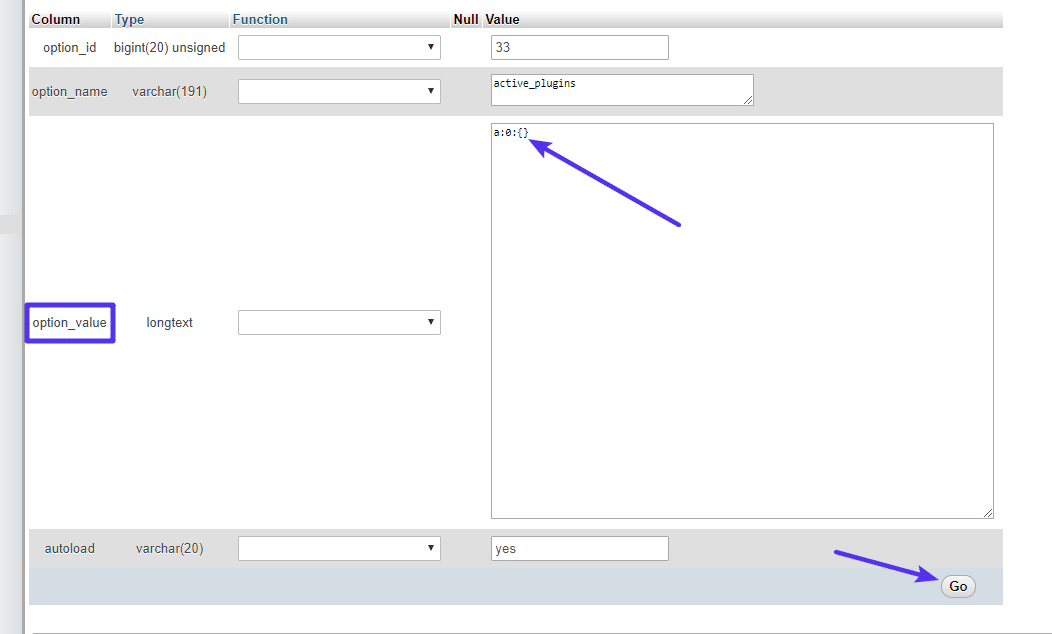 Comment modifier l'entrée active_plugins