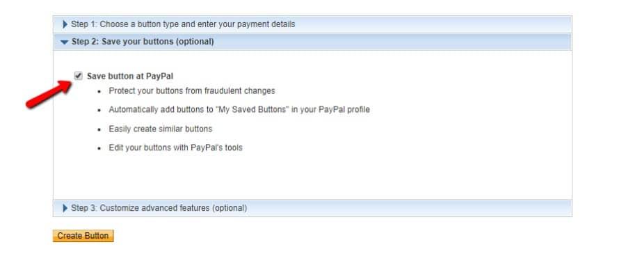 Enregistrer le bouton sur PayPal