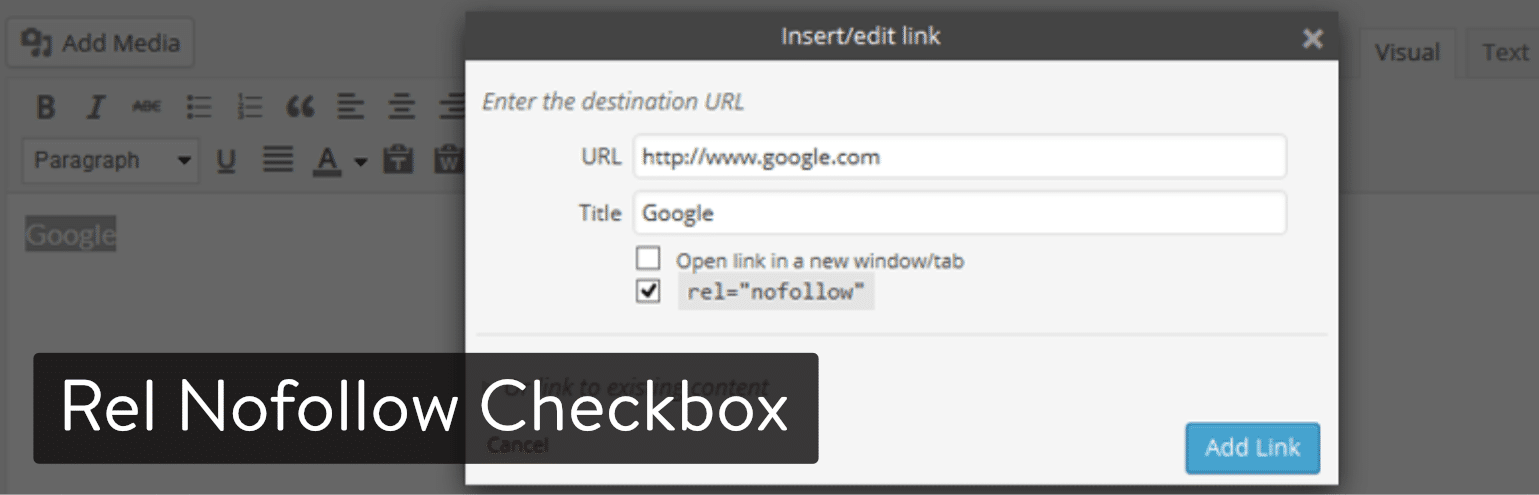 Extension WordPress Rel Nofollow Checkbox