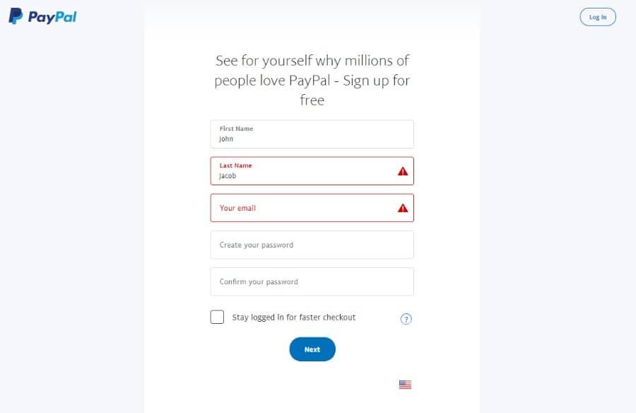 Formulaire d'inscription PayPal