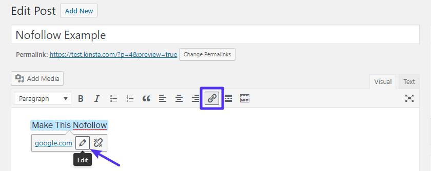 Insérez un lien comme vous le feriez normalement, puis cliquez sur l'icône Crayon pour le modifier.