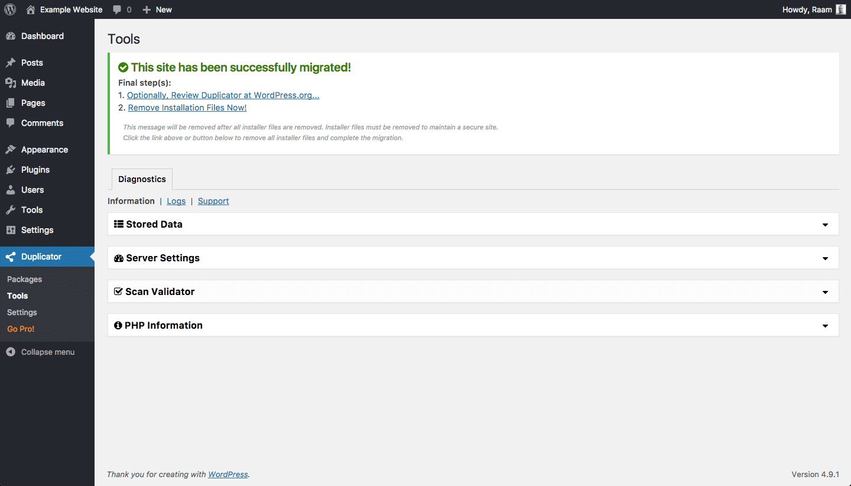 Migration réussie avec WordPress Duplicator