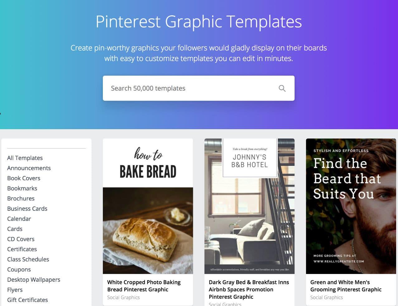 Modèles graphiques Pinterest