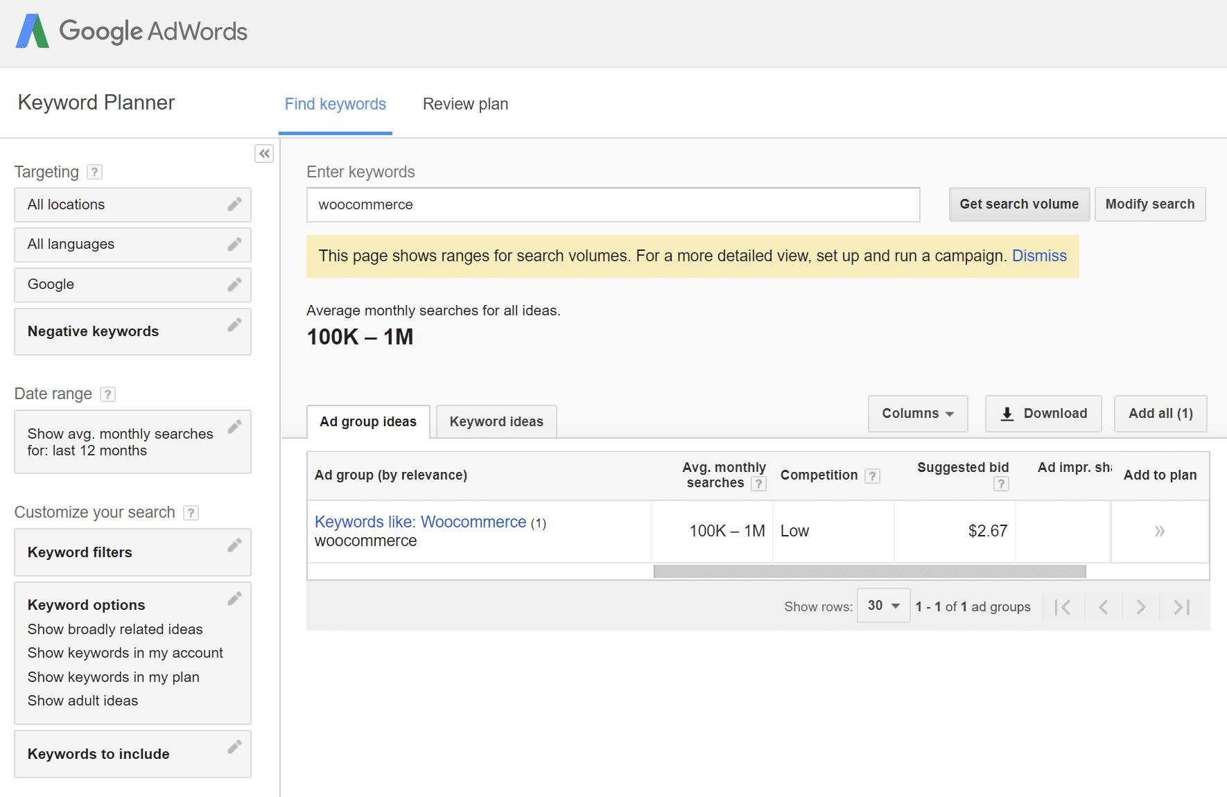 Outil SEO Google Keyword Planner