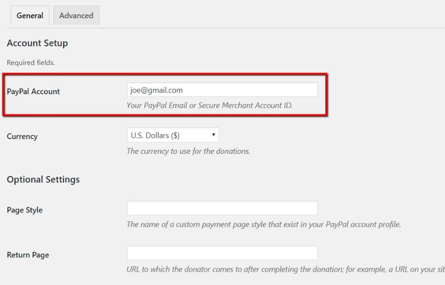 Extension PayPal Donations  : Compte PayPal