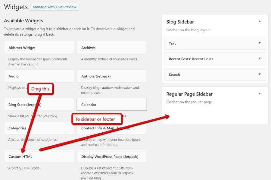 widget HTML personnalisé
