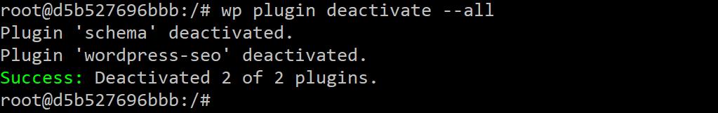 WP-CLI désactive tous les plugins