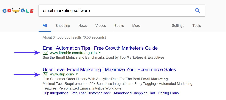 Exemple de Google AdWords dans les SERPs