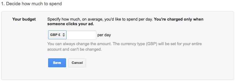Budget Google AdWords