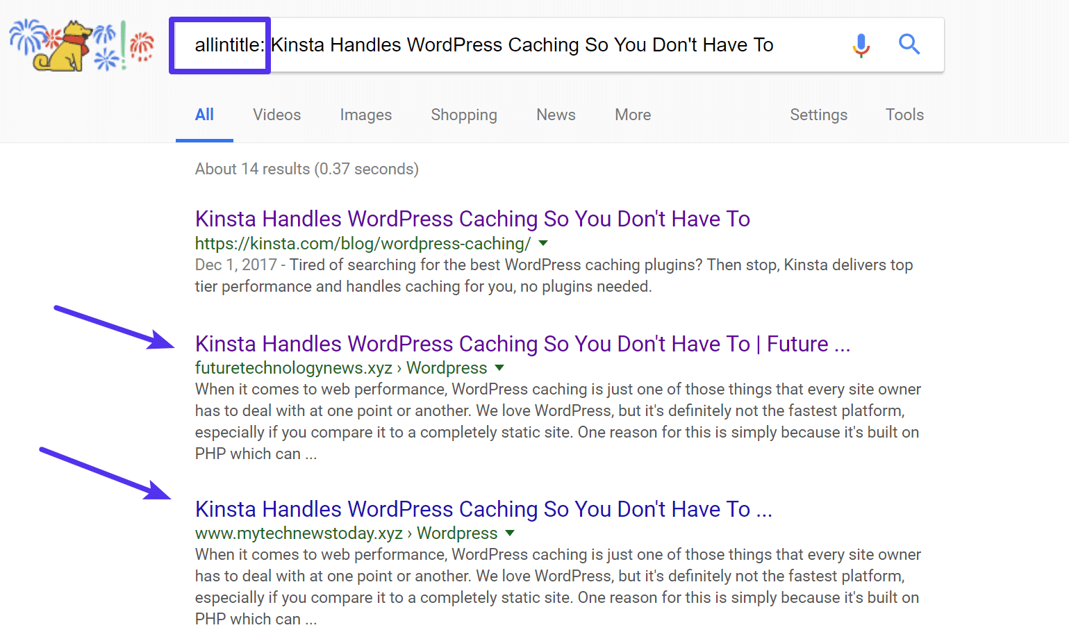 Recherche Google avec balise allintitle