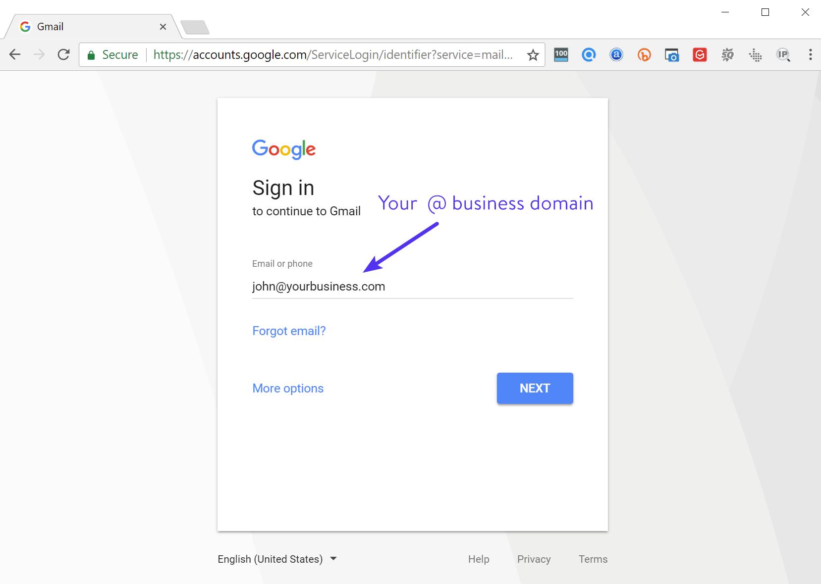 Domaines personnalisés Gmail