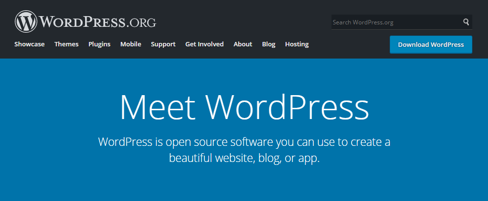 The WordPress.org home page