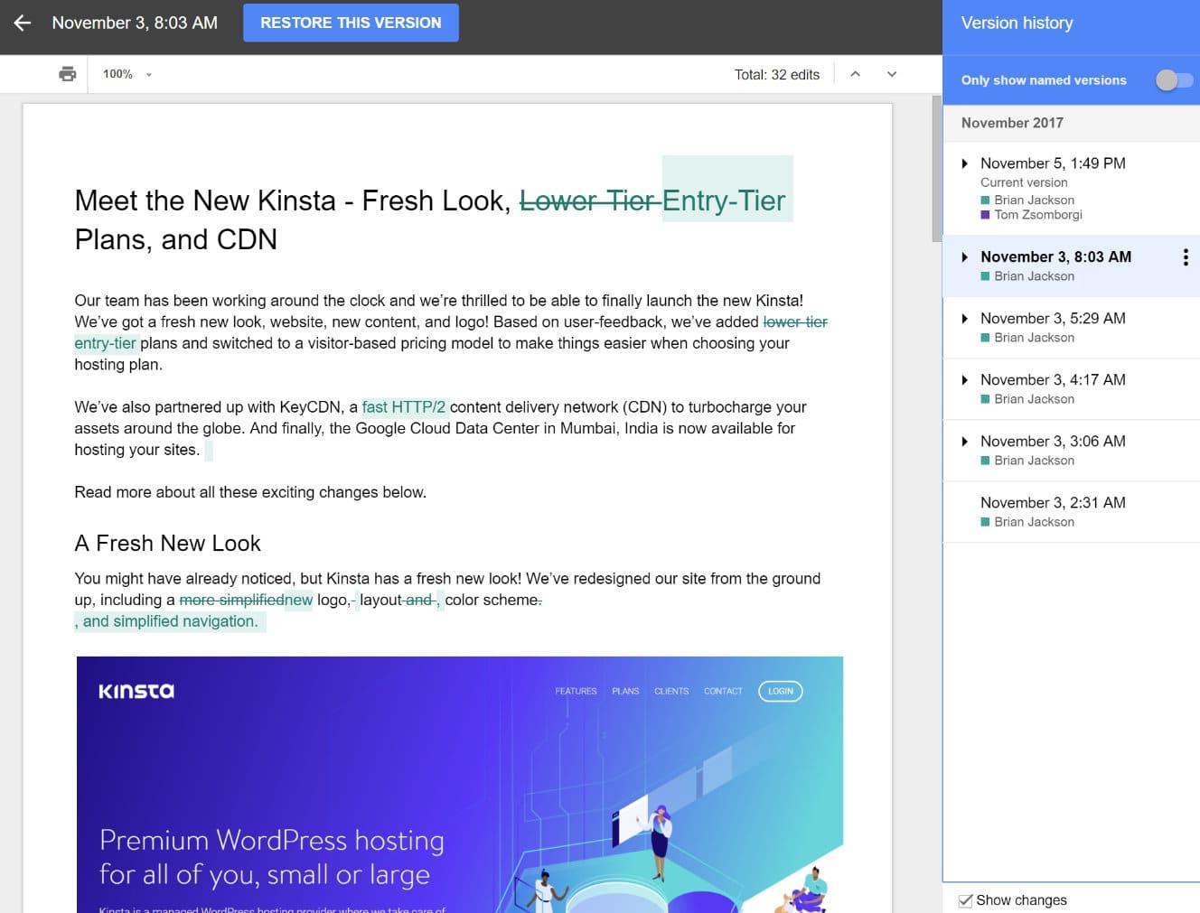 Versions Google Docs