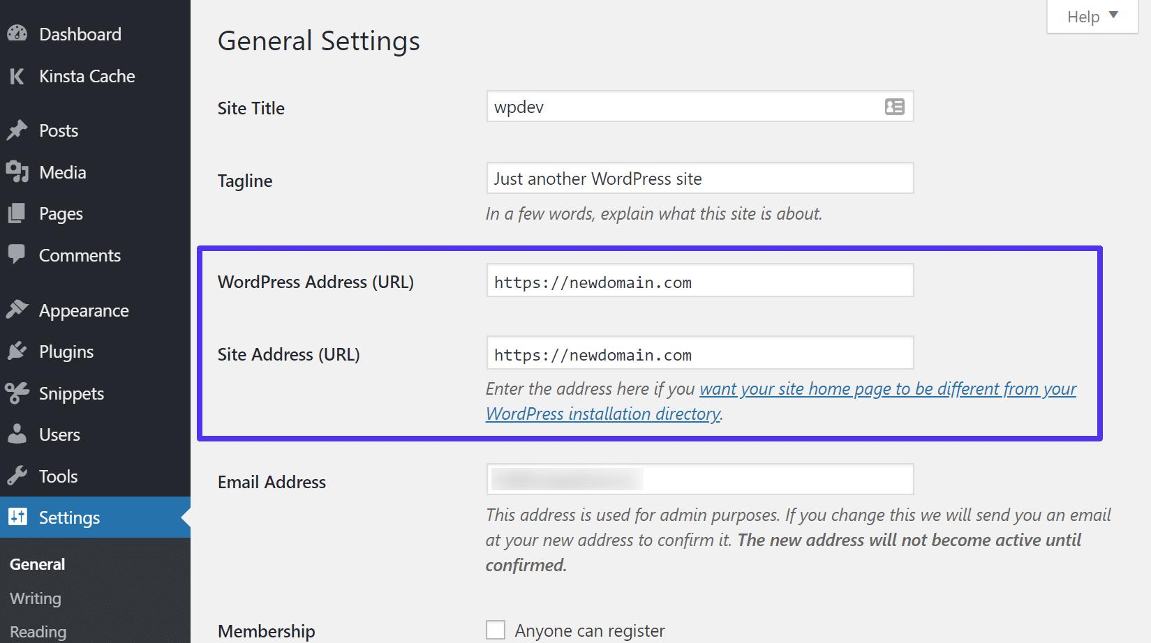 Mise à jour de l'adresse WordPress et de l'URL du site