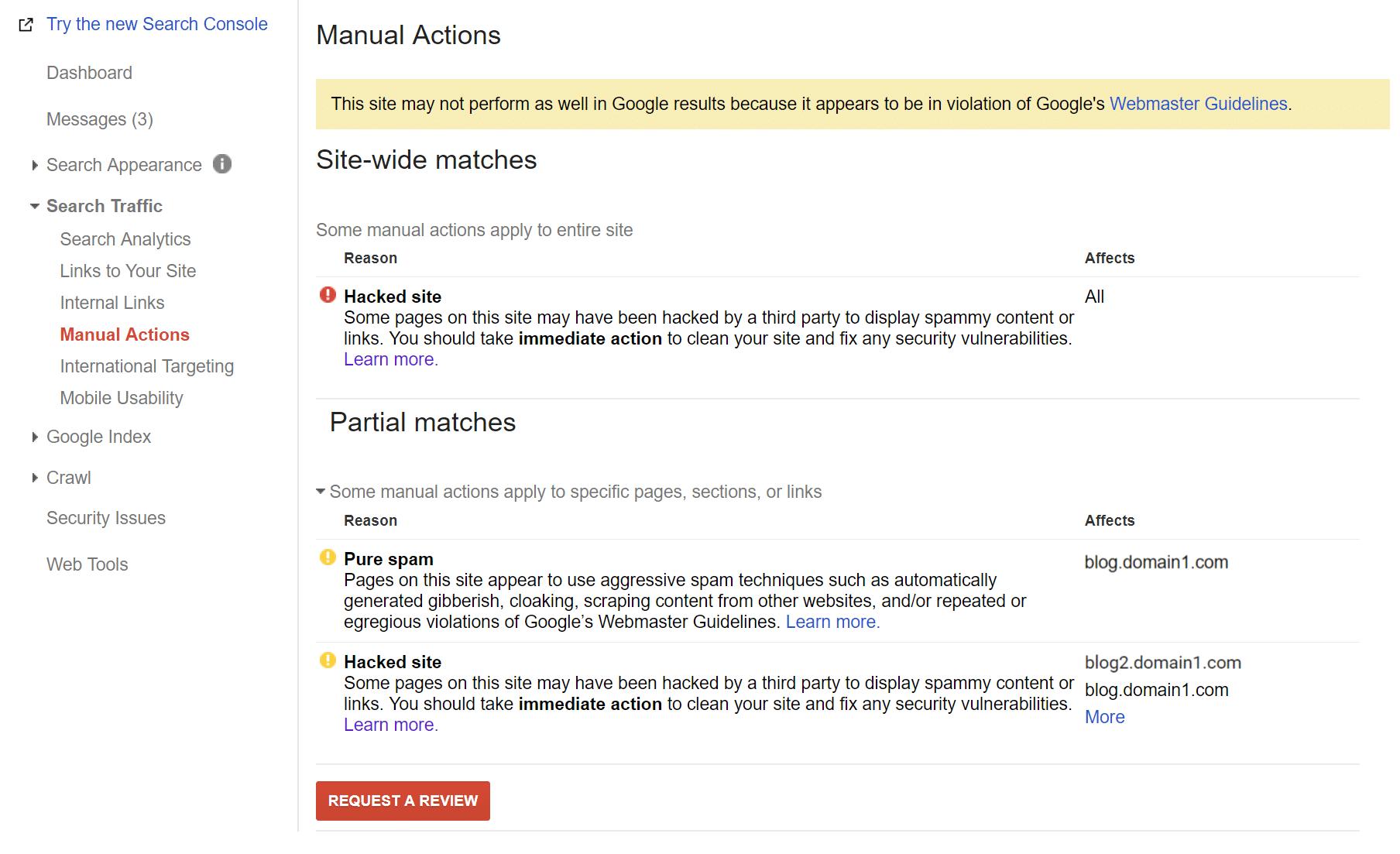 Action manuelle de la console de recherche Google