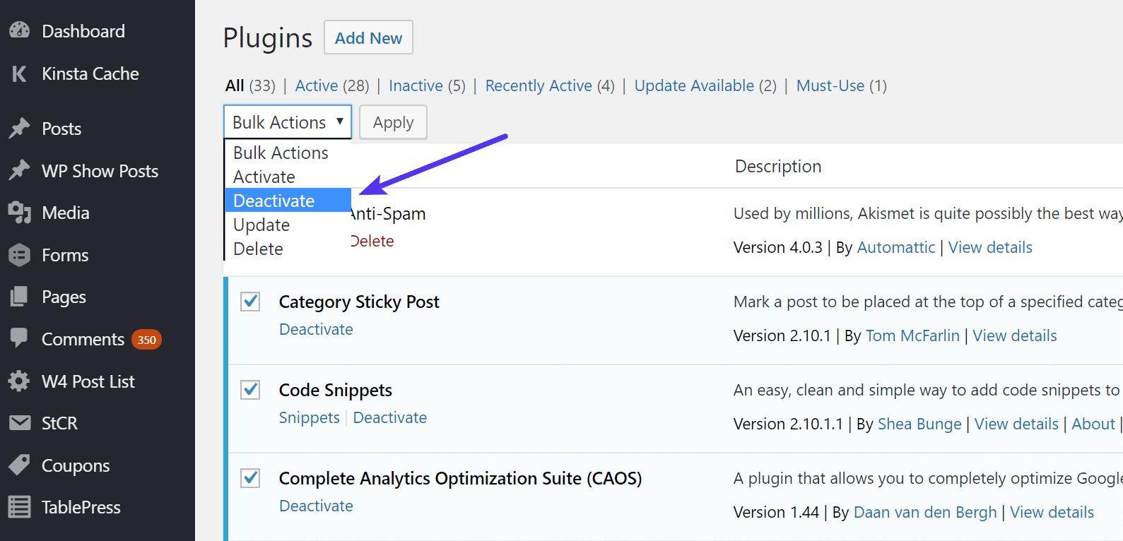 Désactiver toutes les extensions WordPress