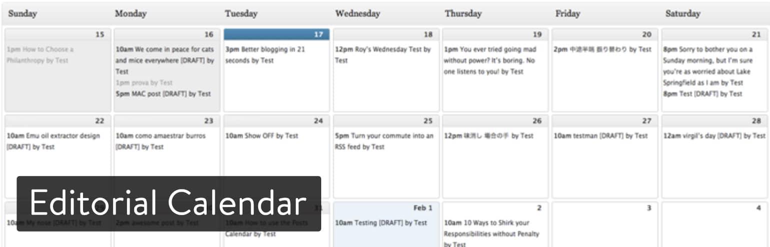 Extension WordPress Editorial Calendar