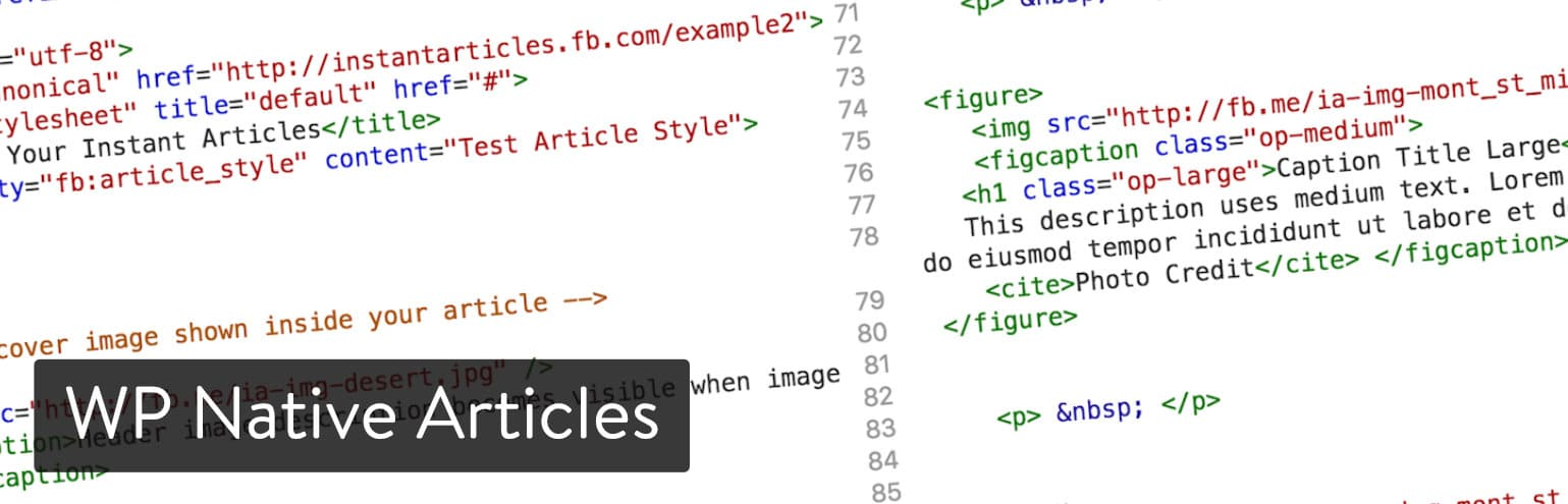 Extension WordPress WP Native Articles