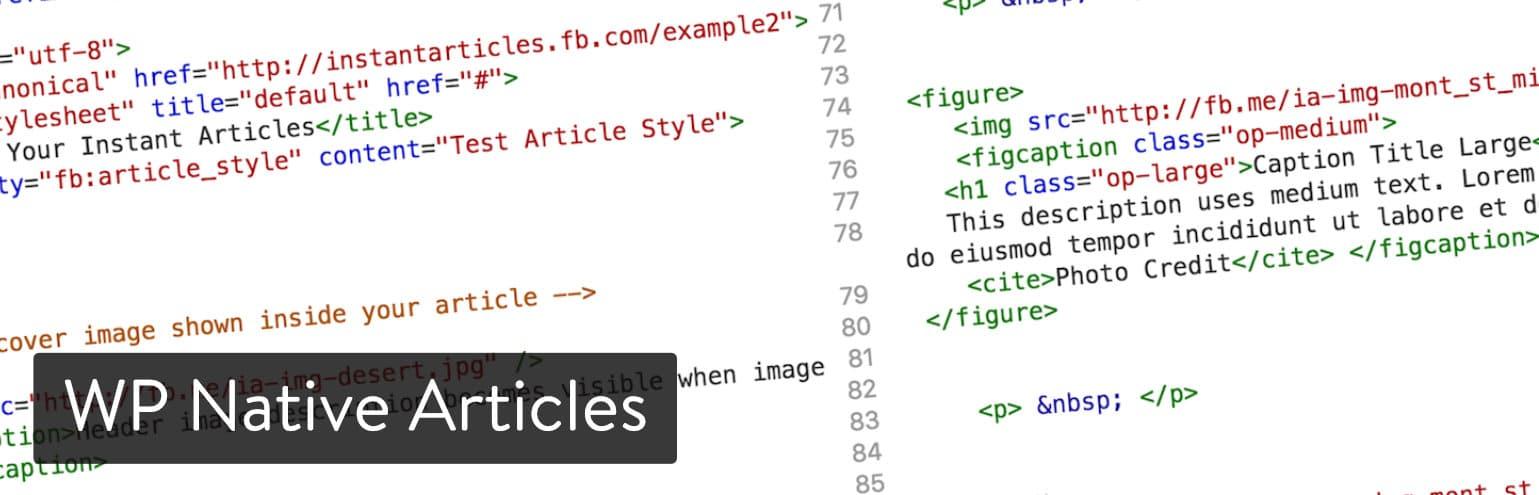 Extension WordPress WP Native Articles