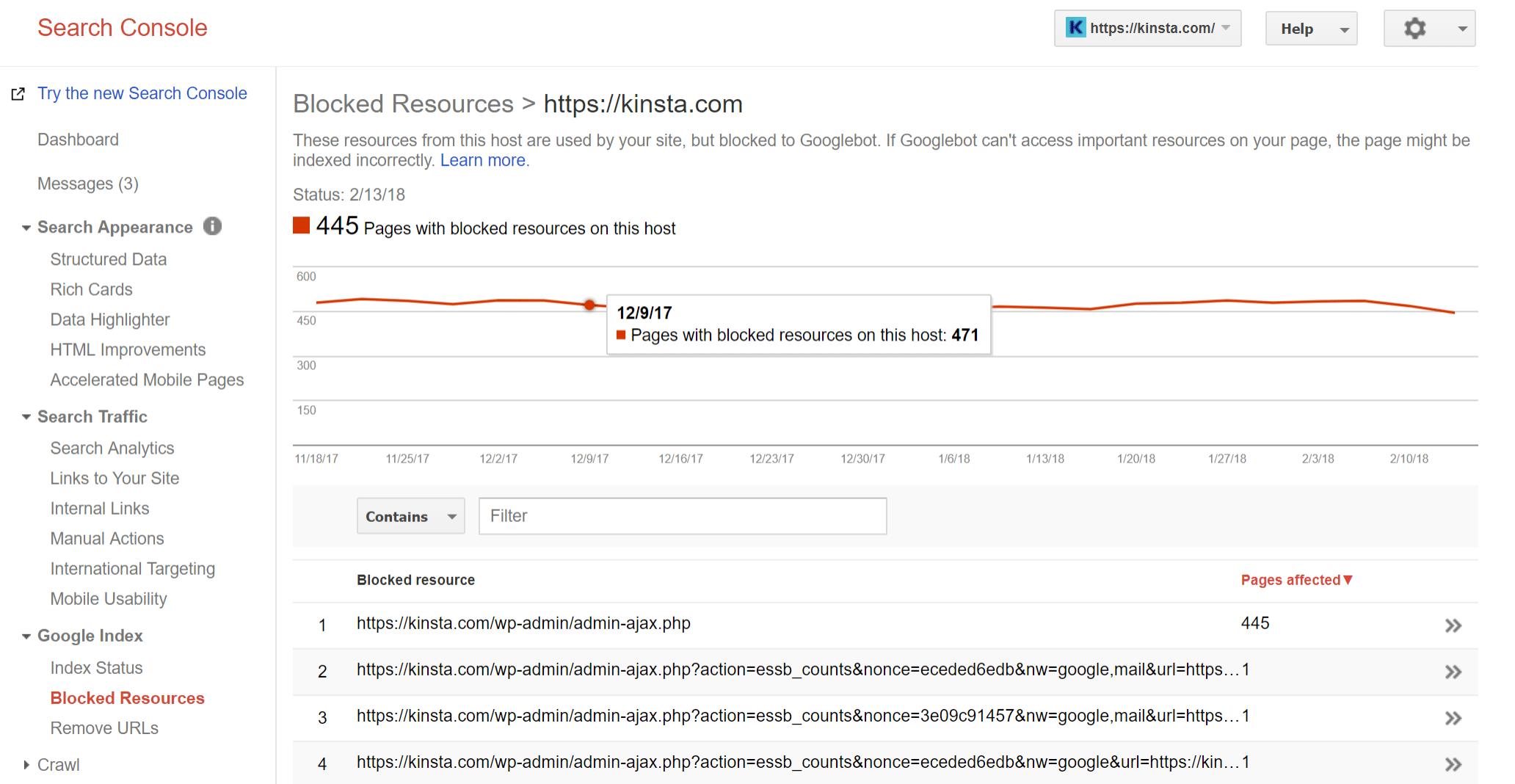 Pages avec des ressources bloquées sur cet hébergeur