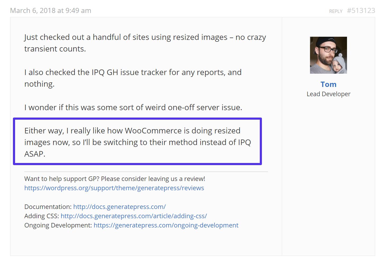 Réponse du développeur WordPress