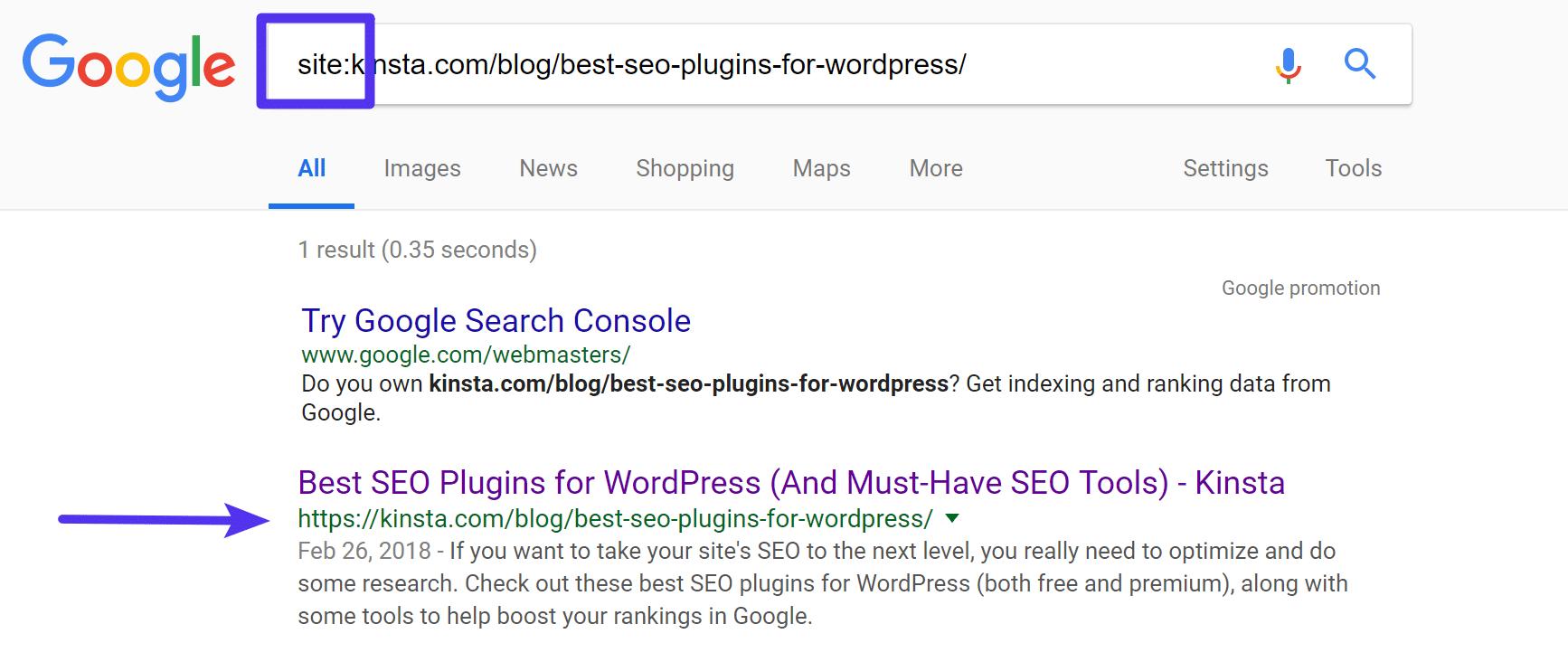 Vérifiez si Google indexe l'URL
