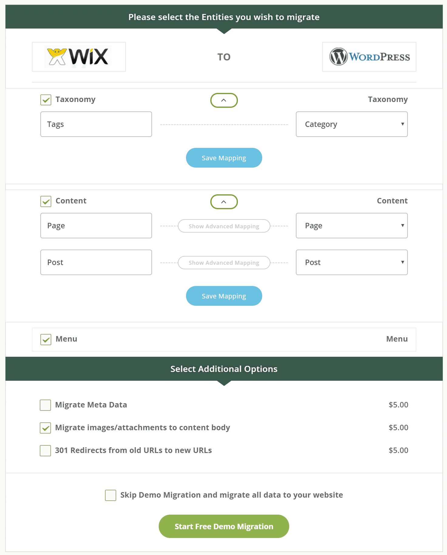 Entités de migration Wix vers WordPress