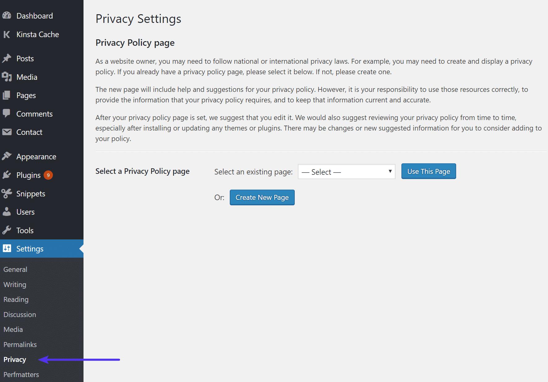Page de confidentialité de WordPress