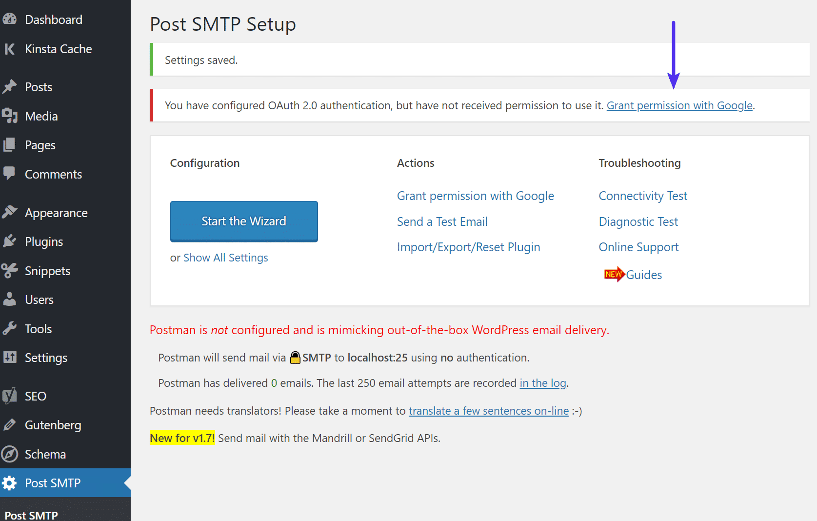 Accorder les permissions de Post SMTP
