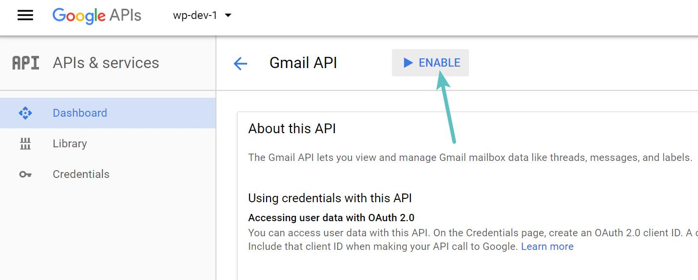 Activer l'API Gmail