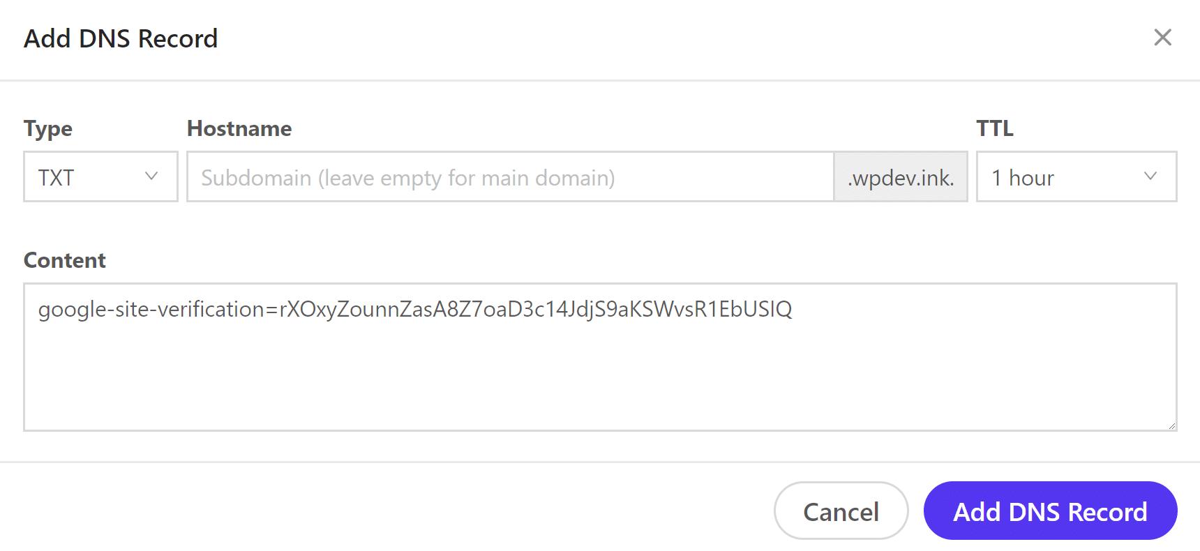 Ajouter enregistrement de type TXT