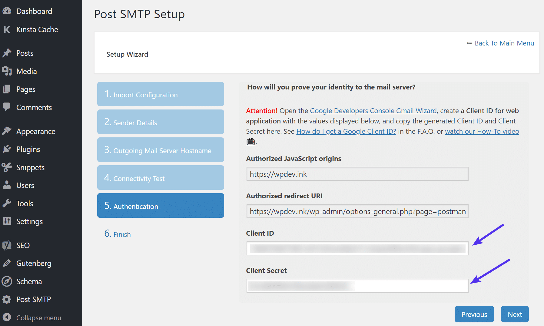 Authentification de Post SMTP