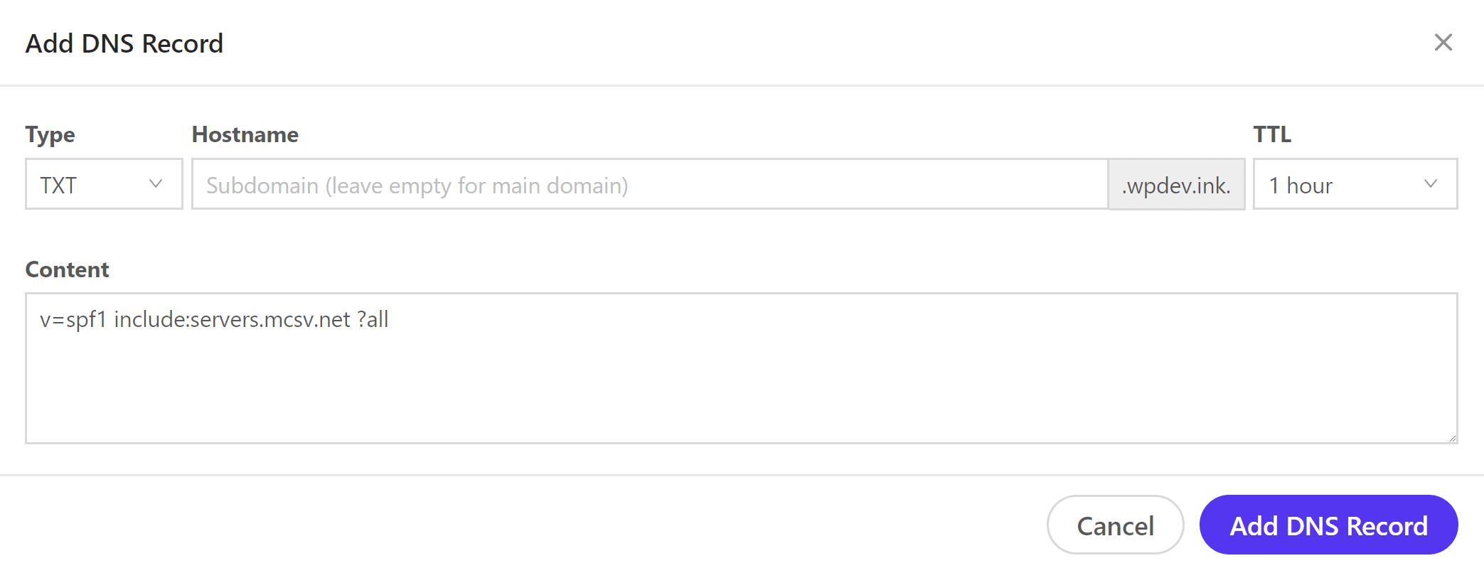 Ajouter un enregistrement de type TXT (SPF)