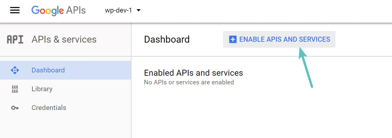 Activer les APIs dans le projet Google