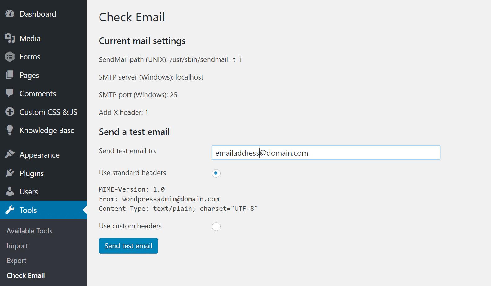 WordPress envoyer email de test