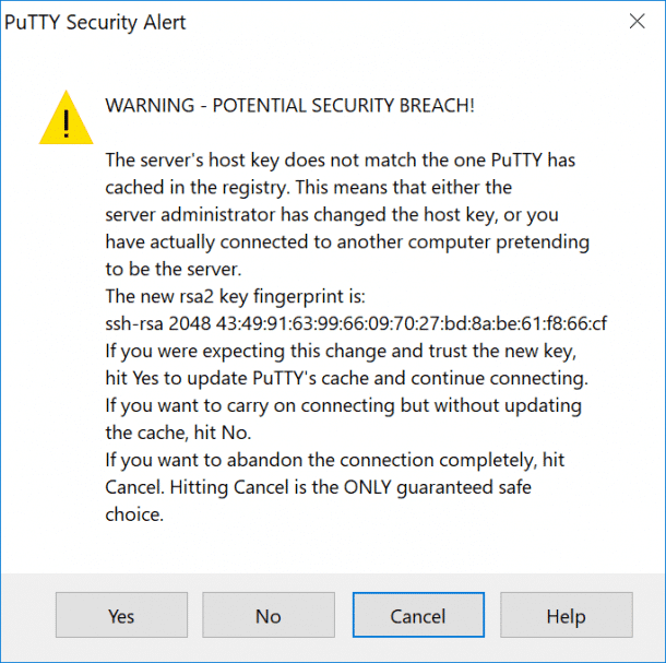Alerte de sécurité PuTTY