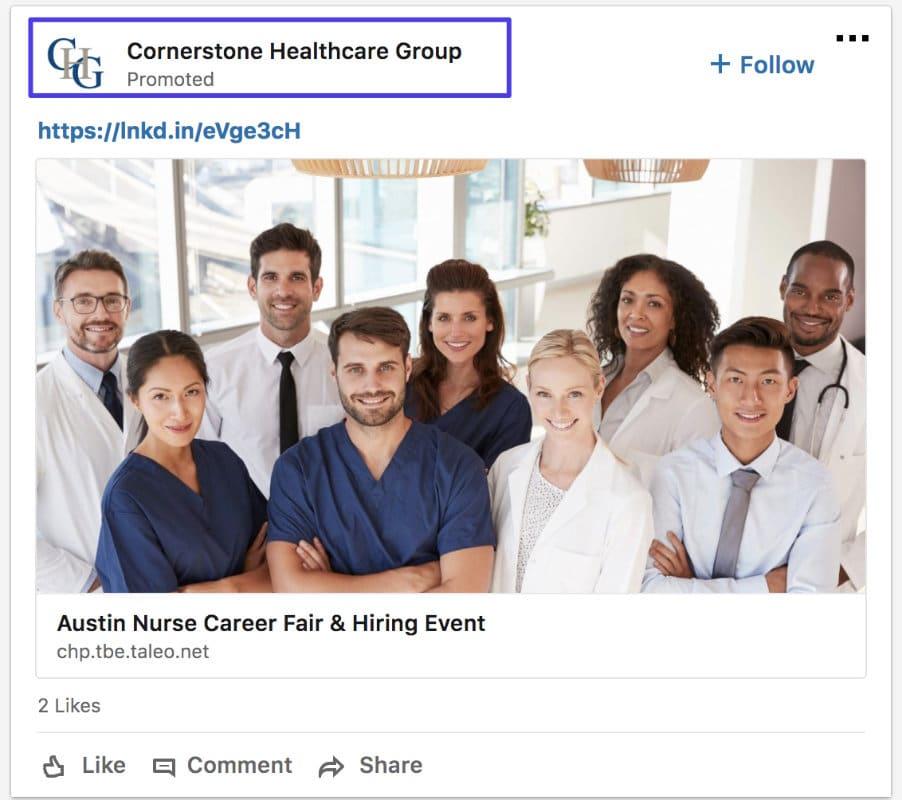 Annonce sponsorisée LinkedIn