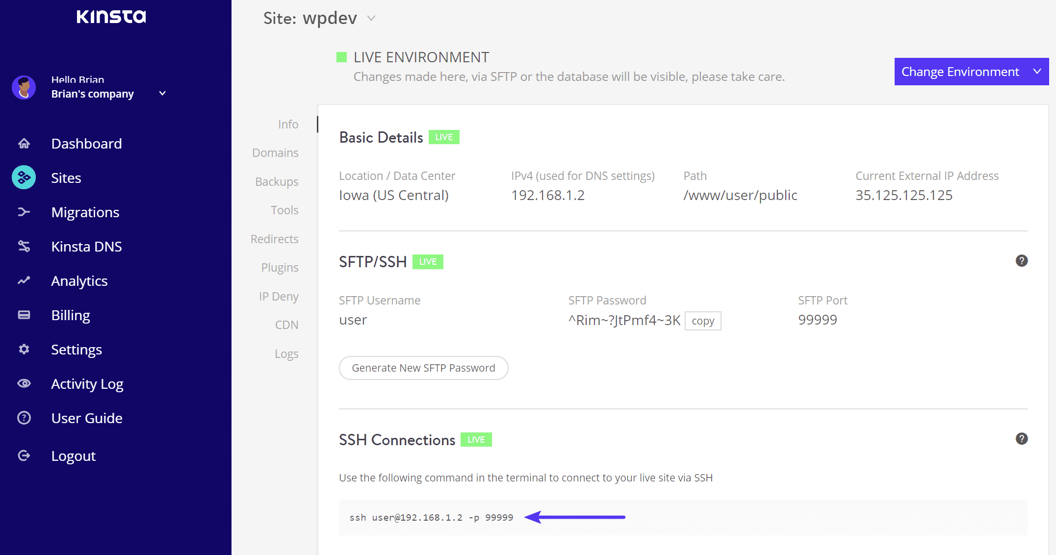 Se connecter à SSH - Informations de connexion MyKinsta