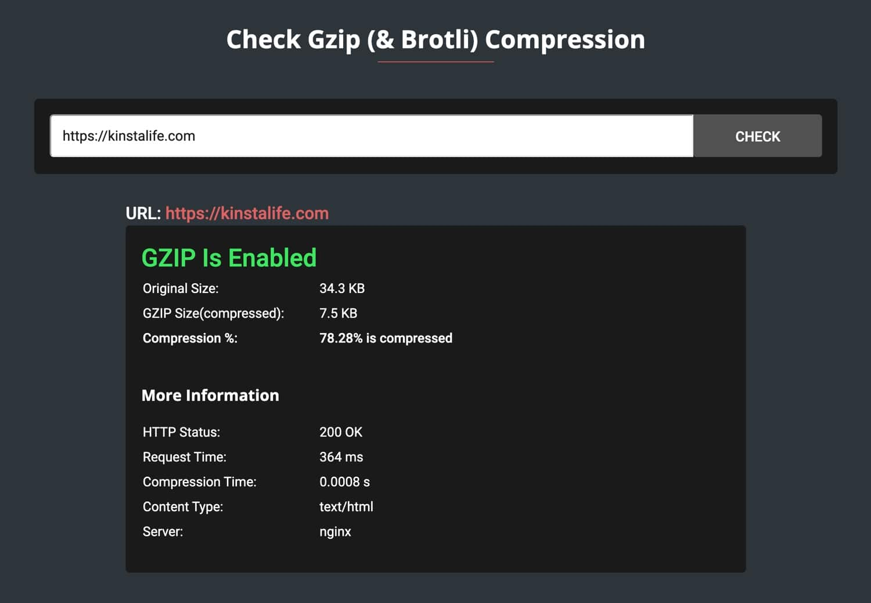 Vérifier la compression GZIP