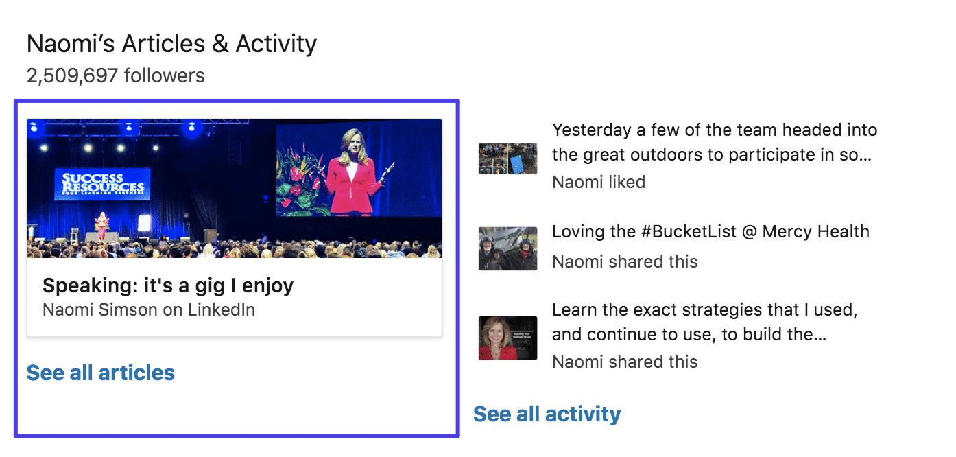 LinkedIn Pulse sur profil