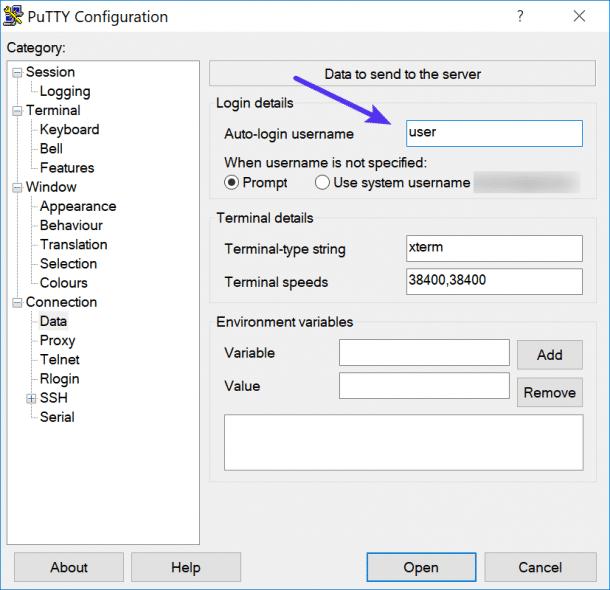 Nom d'utilisateur de connexion automatique SSH