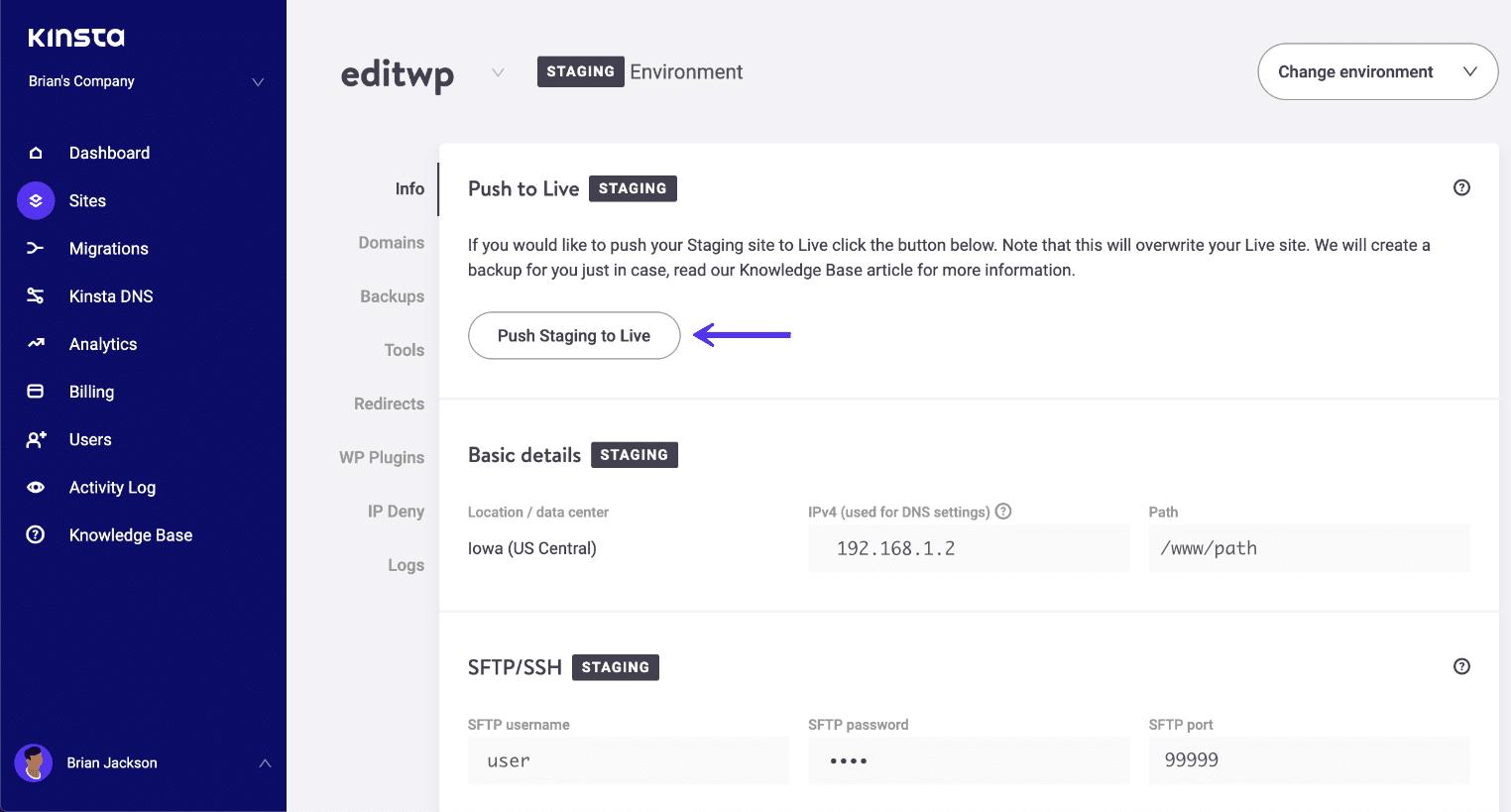 Poussez l'environnement de staging WordPress en production