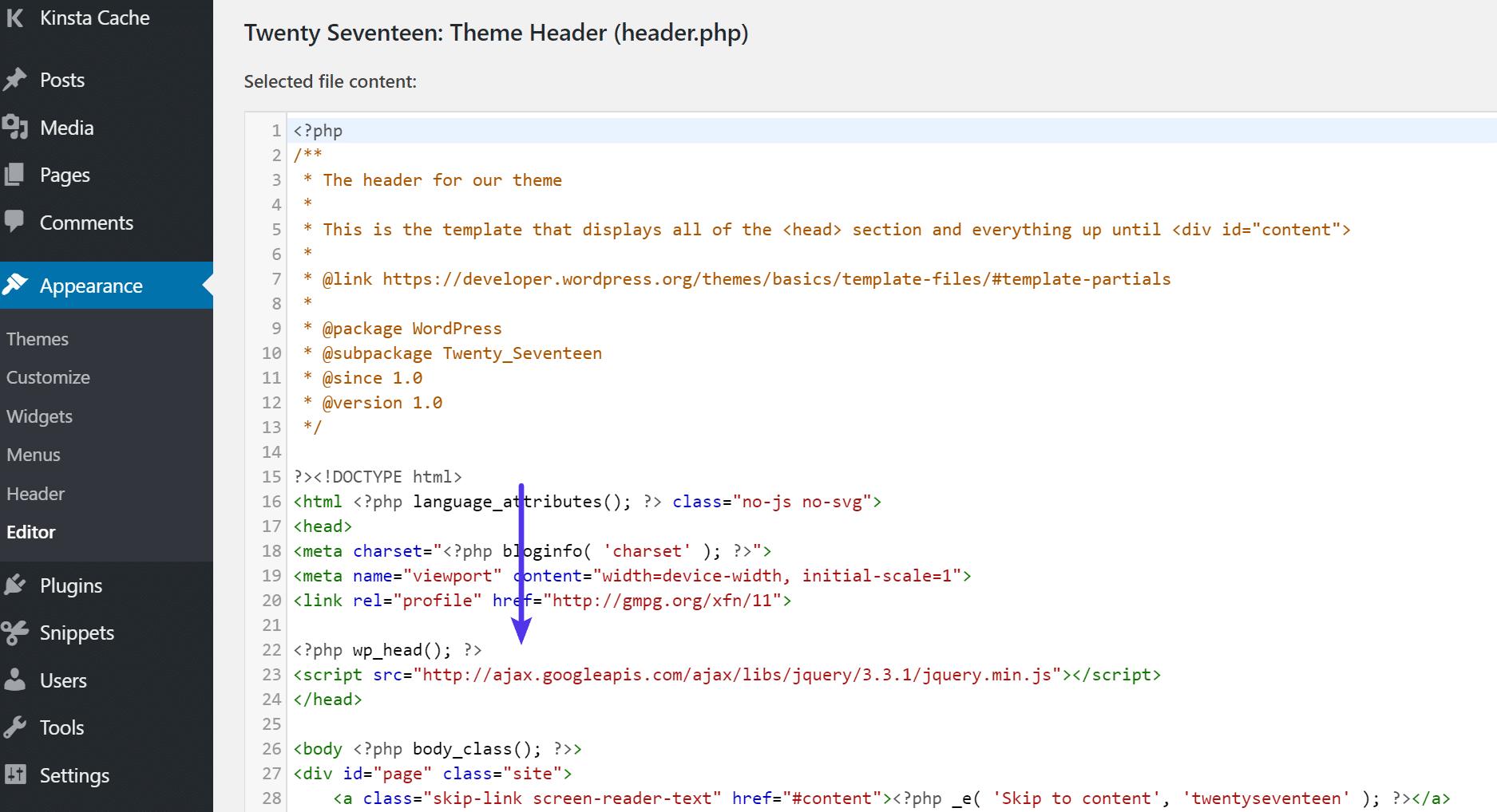 Script externe HTTP