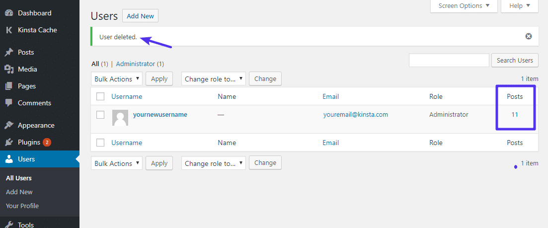 Vérifiez que tous vos anciens articles sont associés à votre nouveau nom d'utilisateur.
