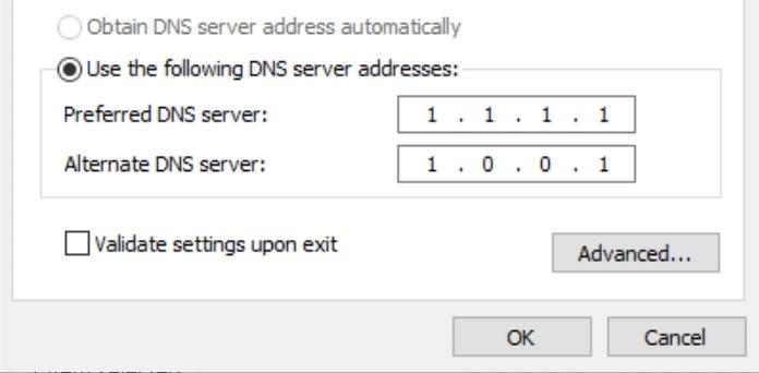 Adresses des serveurs DNS