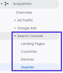Comment vérifier les données de la console de recherche dans Google Analytics