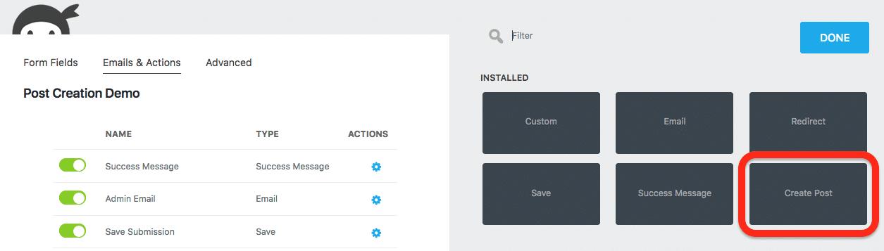Création d'articles sur l'interface publique