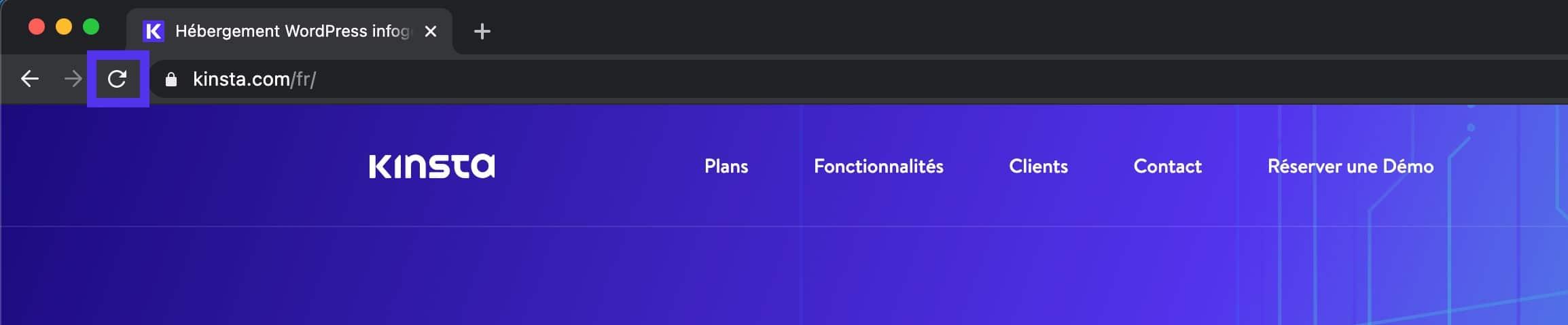 Actualiser une page web dans le navigateur Chrome