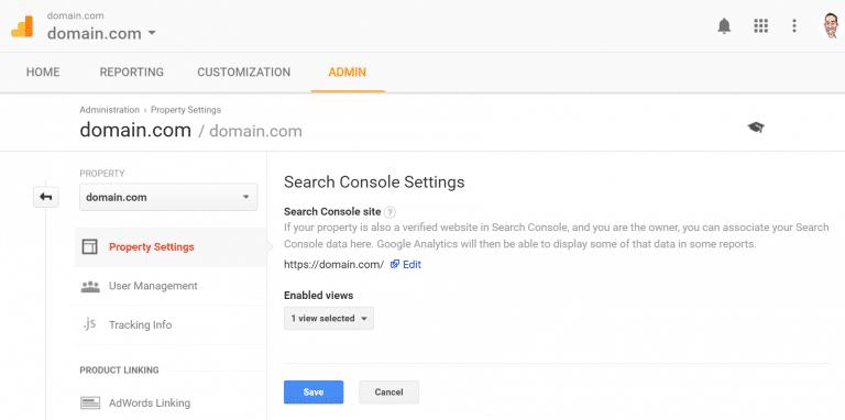 Lien entre Google Analytics et la console de recherche Google