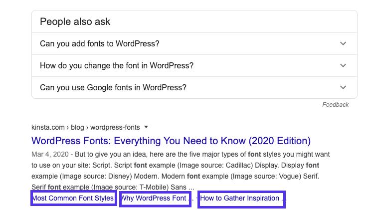 Liens d'ancrage dans les SERPs de Google